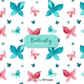 Fundo de silhuetas de borboleta em aquarela