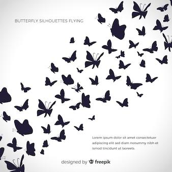 Fundo de silhuetas de borboletas