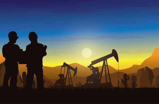 Fundo de silhuetas de indústria de plataforma de petróleo.