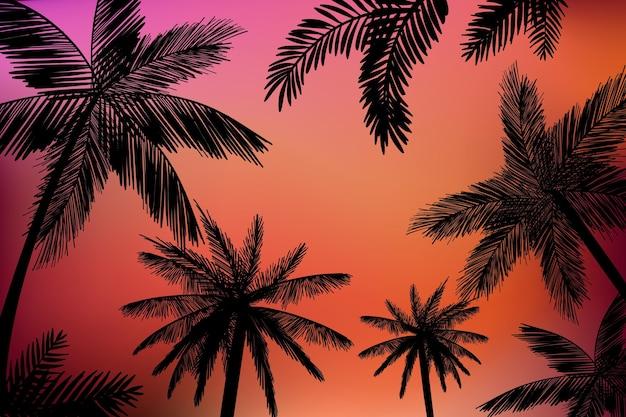 Fundo de silhuetas de palmas