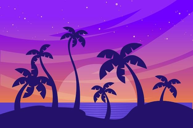 Fundo de silhuetas de palmeiras