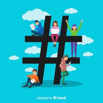 Fundo de símbolo de hashtag de mídia social plana pessoas