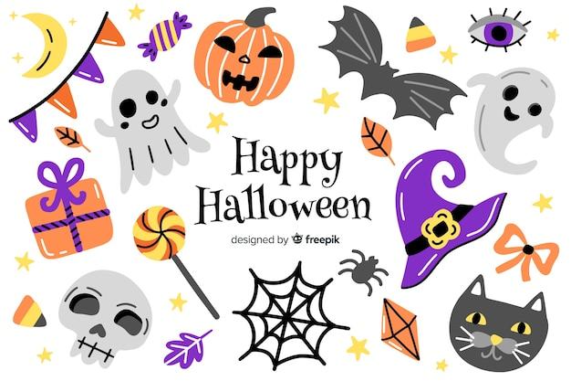 Fundo de símbolos de halloween de mão desenhada