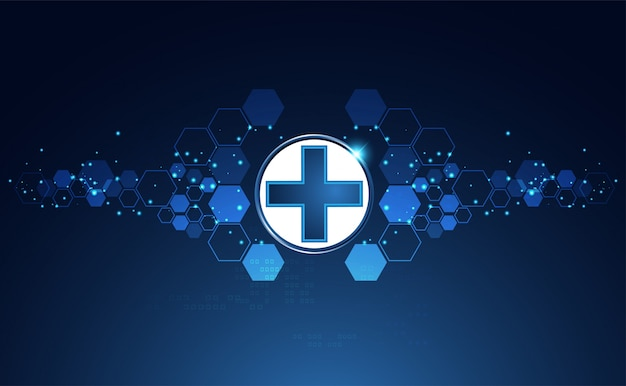 Fundo de sinal azul brilhante saúde