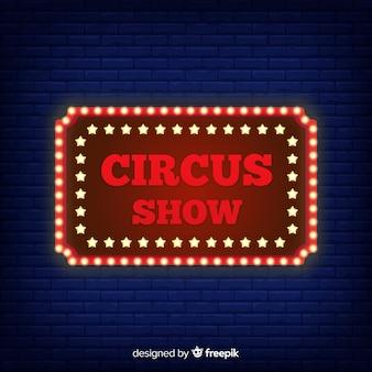 Fundo de sinal de circo de néon