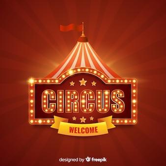 Fundo de sinal de luz de circo vintage