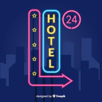 Fundo de sinal de néon de hotel realista