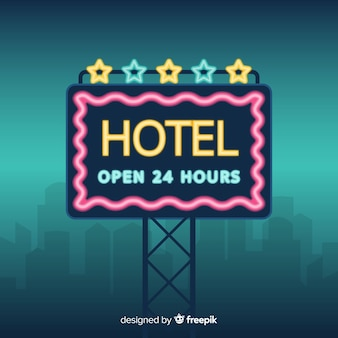 Fundo de sinal de néon do hotel
