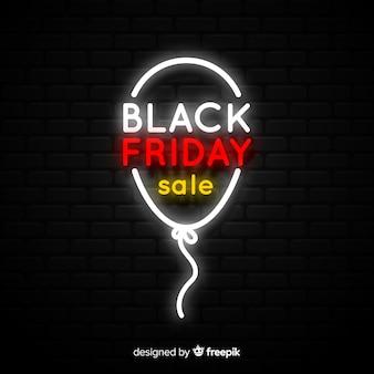 Fundo de sinal de néon preto venda sexta-feira