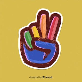 Fundo de sinal de paz de mão colorido