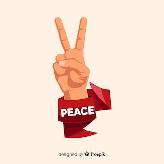 Fundo de sinal de paz de mão de fita