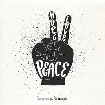 Fundo de sinal de paz de mão de silhueta
