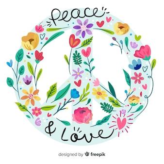 Fundo de sinal de paz de mão desenhada
