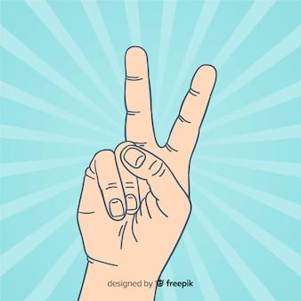 Fundo de sinal de paz de mão sunburst