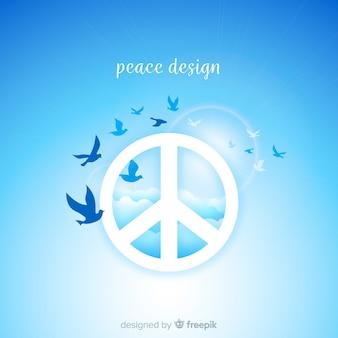 Fundo de sinal de paz de pássaros