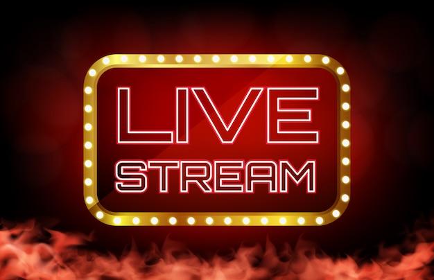 Fundo de sinal de transmissão ao vivo de néon vermelho, conceito de cassino online