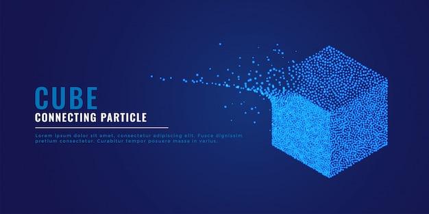Fundo de sistema de partículas de cubo 3d