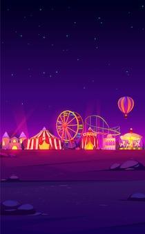 Fundo de smartphone com parque de diversões de carnaval à noite