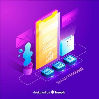 Fundo de smartphone isométrica