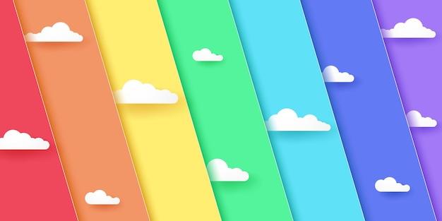 Fundo de sobreposição diagonal de cor de arco-íris abstrato com nuvem, estilo de arte de papel