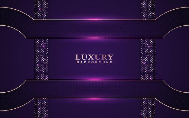Fundo de sobreposição roxo luxuoso com decoração de brilhos dourados