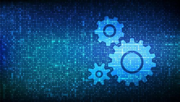 Fundo de software de automação. ícones de engrenagens feitos com código binário. iot e conceito de automação. fundo de matriz com dígitos 1.0.