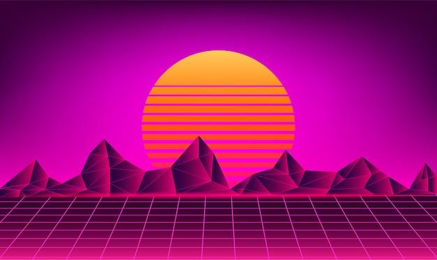 Fundo de sol de néon retrô