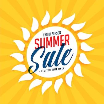 Fundo de sol de venda de verão amarelo