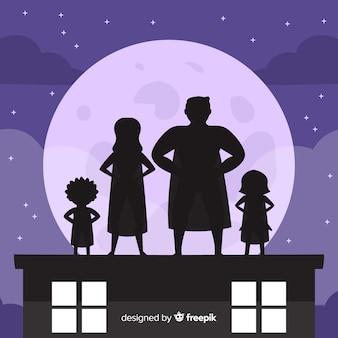 Fundo de sombra de família de super-herói