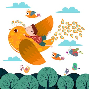 Fundo de sonho voando vetor de modelo de aves