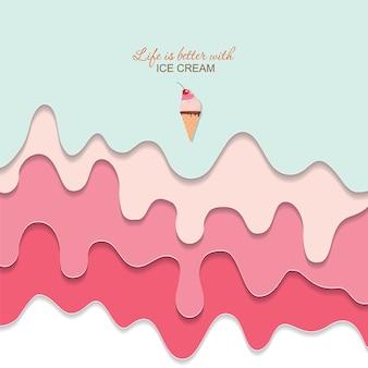 Fundo de sorvete derretido fluindo.