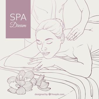 Fundo de spa com mulher relaxada