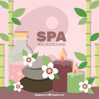 Fundo de spa com produtos aromáticos em estilo simples