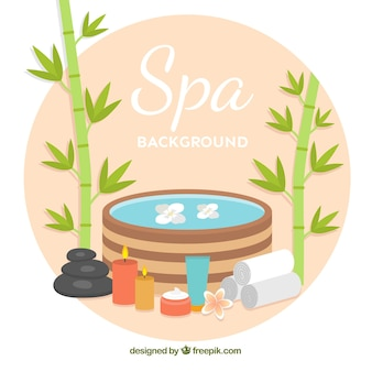 Fundo de spa com velas e óleos aromáticos