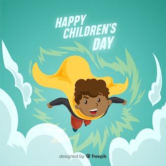 Fundo de super-herói de dia das crianças