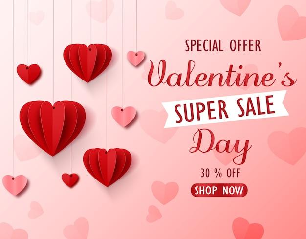 Fundo de super venda de dia dos namorados com arte de papel de coração
