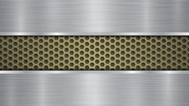 Fundo de superfície metálica dourada perfurada com orifícios e duas placas horizontais de prata polidas com uma textura de metal, reflexos e bordas brilhantes