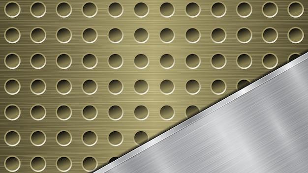 Fundo de superfície metálica dourada perfurada com orifícios e placa de prata polida em ângulo com uma textura de metal, reflexos e bordas brilhantes