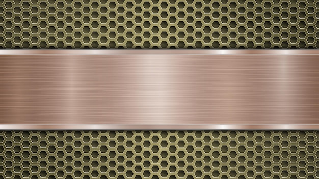 Fundo de superfície metálica dourada perfurada com orifícios e placa horizontal de bronze polida com textura de metal, reflexos e bordas brilhantes