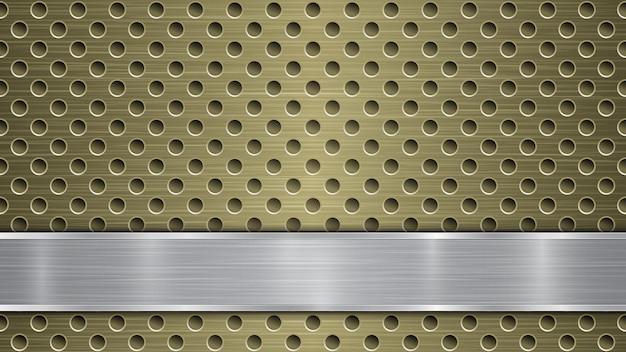 Fundo de superfície metálica dourada perfurada com orifícios e placa prateada polida horizontal com textura de metal, reflexos e bordas brilhantes