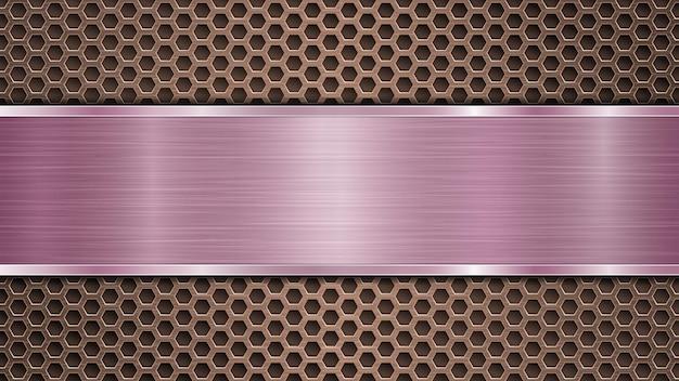 Fundo de superfície metálica perfurada de bronze com orifícios e placa horizontal roxa polida com textura de metal, reflexos e bordas brilhantes