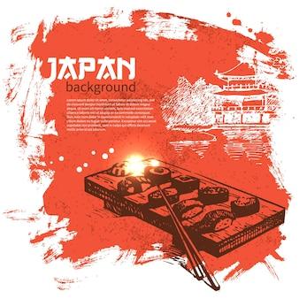 Fundo de sushi japonês vintage desenhado à mão