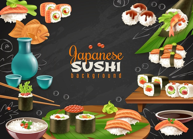 Fundo de sushi japonês