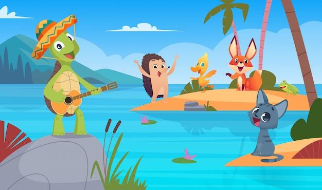 Fundo de tartarugas. animal selvagem da natureza cantando jogando ilustração de fundo de tartaruga de desenho animado
