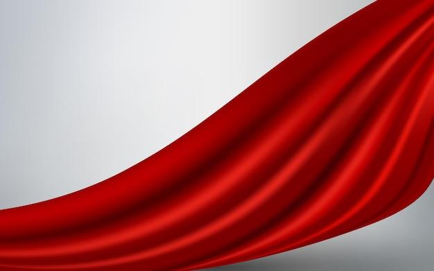 Fundo de tecido de seda vermelho vetor realista material de veludo de cetim dobras onduladas para design luxuoso