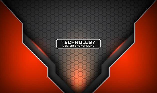 Fundo de tecnologia 3d abstrato cinza e laranja, camada de sobreposição com efeito de luz