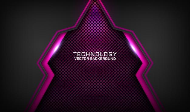 Fundo de tecnologia 3d abstrato preto e rosa, camada de sobreposição com efeito de luz