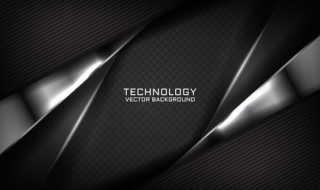 Fundo de tecnologia 3d preto abstrato com efeito de luz no escuro