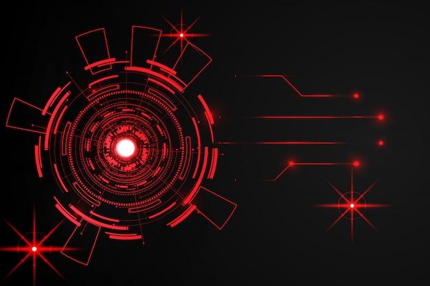 Fundo de tecnologia abstrata círculo vermelho
