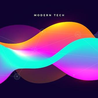 Fundo de tecnologia abstrata de onda colorida